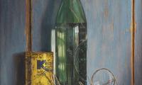 Rob Møhlmann, Beugelfles met gebroken bril, olieverf op paneel, 60 x 32 cm