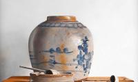 Rob Møhlmann, Een nieuw pijpje, olieverf op paneel, 30 x 30 cm