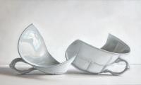 Rob Møhlmann, Gebroken wit-3, olieverf op paneel, 16 x 30 cm