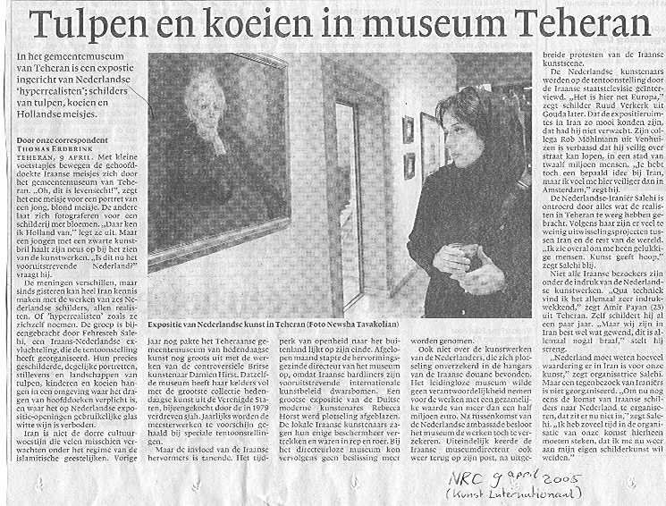 Tulpen en koeien in museum Teheran, NRC - 9 april 2005