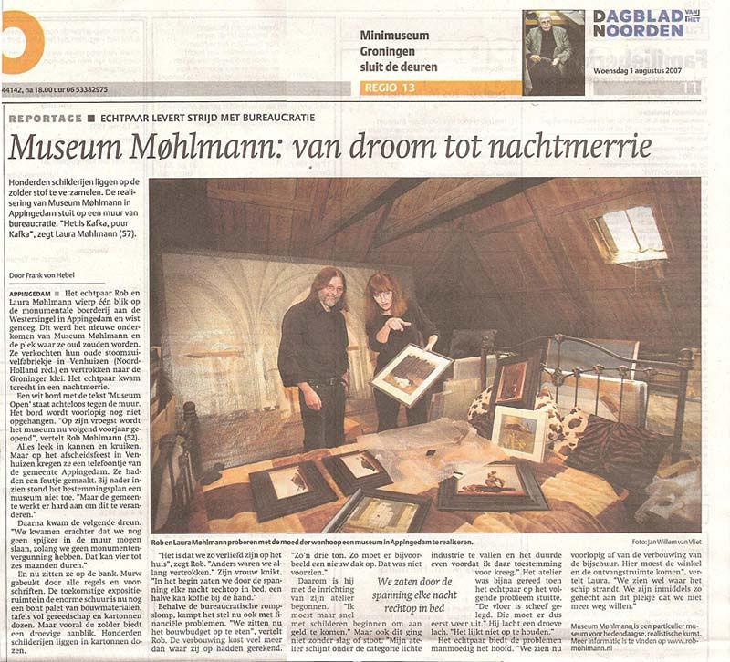 3 augustus 2007 - Krantenknipsel, Museum Møhlmann