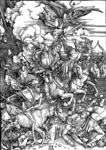 Albrecht Dürer, 1498, houtsnede; over bazuinen, zegels en vier ruiters.