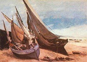 Barques de pèche sur la plage de Trouville, Courbet