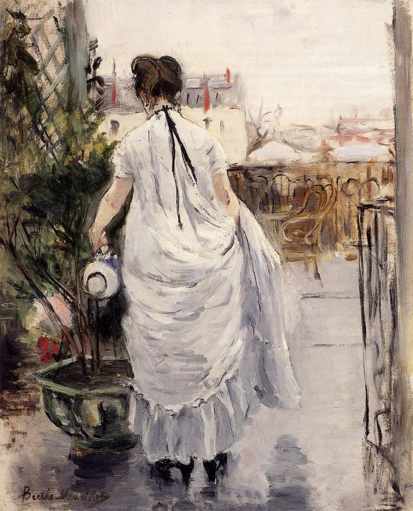 Berthe Morisot , Jonge vrouw die de planten begiet
