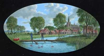 Con van Velsen, Waterkers, 2003, acryl op paneel, 6x12cm
