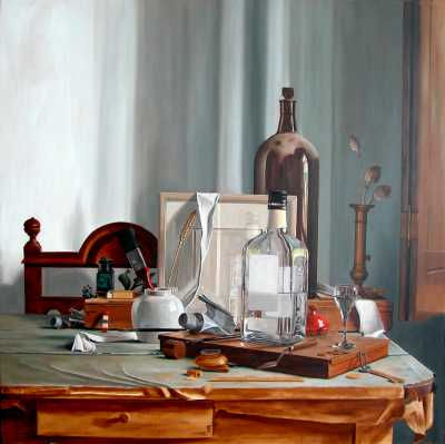 De vierkante fles - de eerste laag - 70 x 70 cm - Rob Møhlmann