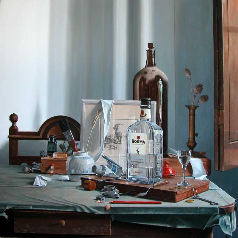 De vierkante fles - olieverf op paneel - 70 x 70 cm - Rob Møhlmann