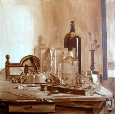 De vierkante fles - olieverfschets in bruin - 70 x 70 cm - Rob Møhlmann