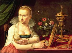 Een Vanitas van Clara Peeters, mogelijk met zelfbeeltenis
