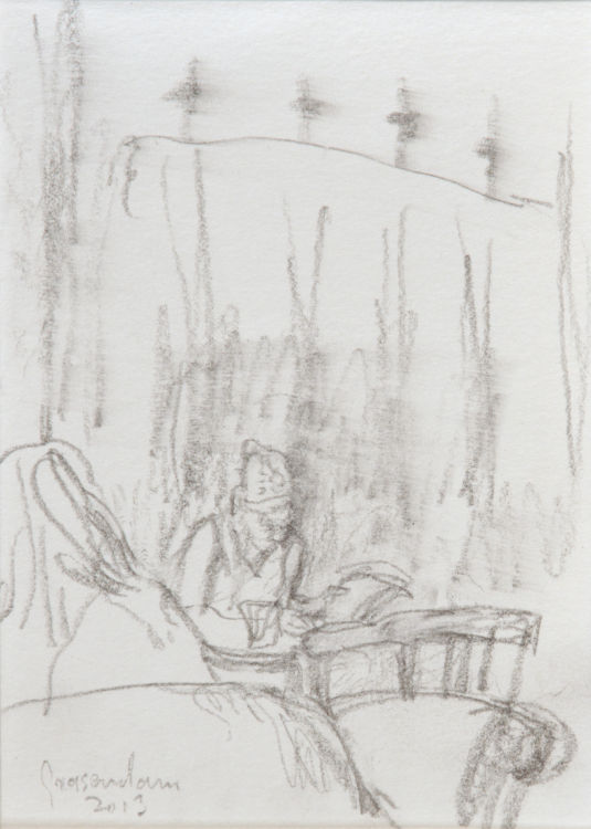 Stationsrestauratie, lezende vrouw