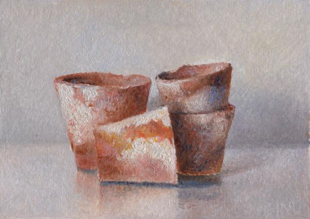 4 aardewerken potjes