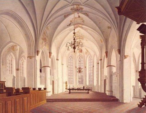 Henk Helmantel, Het koor van de N.H. kerk in Loppersum, 1971, 200 x 260 cm