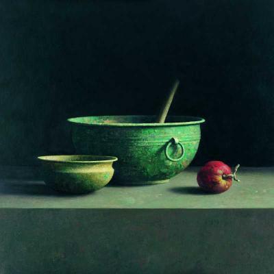 Henk Helmantel, Stilleven met Chinese bak en rode appel