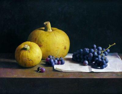 Henk Helmantel, Stilleven met druiven en sierkalabassen