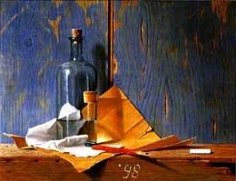 Het krijtje, 1998, olieverf op paneel, 30x40 cm
