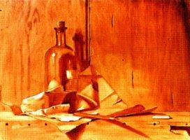Het krijtje, onderschildering in bruin
