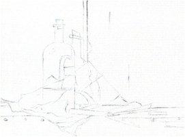 Het krijtje, potloodtekening