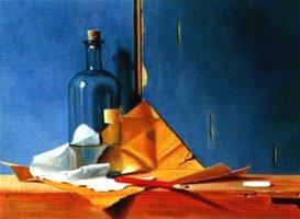 Het krijtje, tweede kleurlagen van achtergrond en fles