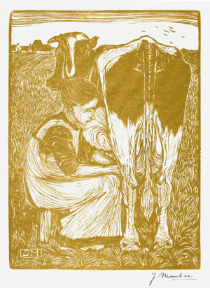 KE10, Mankes. Jan, Koemelkster, 1914, houtsnede (kleur), 19,2x14,5cm