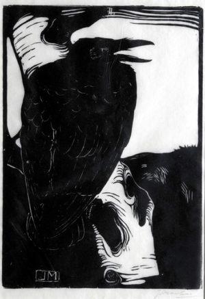KE11, Mankes. Jan, Kraai op berkenboom, 1913, houtsnede, 24,9x17,7cm