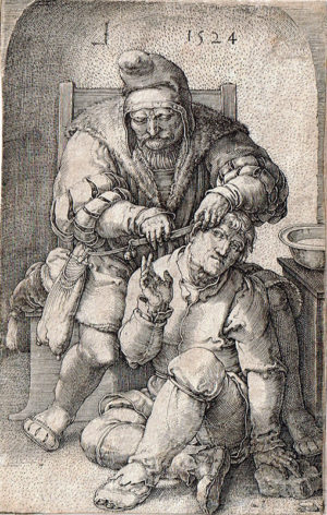 KE15, Leyden, Lucas van, De Chirurgijn, 1524, gravure, 11,5x7,5cm