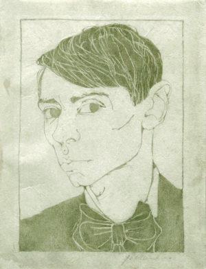 KE16, Mankes. Jan, Zelfportret, 1913, houtsnede (groenig), 15,4x11cm