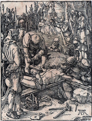 KE7, D++rer, Albrecht, De kruisnageling, ca. 1509, houtsnede, 12,7x9,7cm
