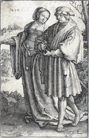 KE9, Leyden, Lucas van, De Wandeling, 1520, gravure, 11,5x7,5cm