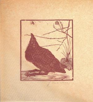 KG30, Jan Mankes, Jonge kraai met mugje, 1918, houtsnede, 22,8x10,2cm