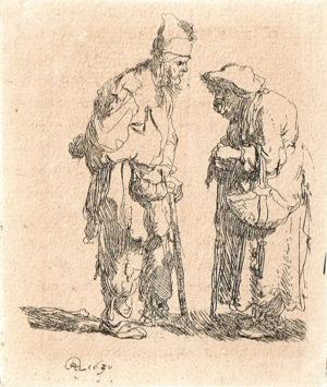 KK15, Rembrandt, Twee bedelaars, RHL 1630, ets 7,8x6,6cm, ware grootte