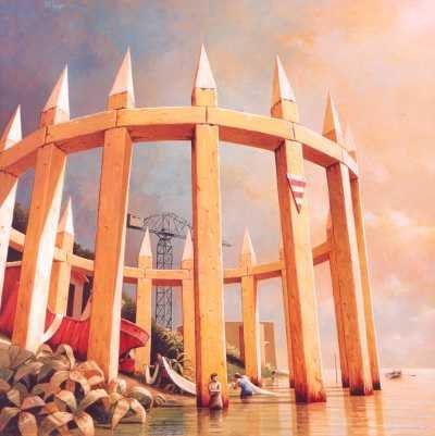 Michiel Schrijver - Wachten op het ademen van de zee, 2003, 100x100cm