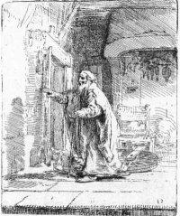 Rembrandt, De Blinde Tobias, ets, 1651