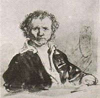 Rembrandt, zelfportret, tekening, 1648