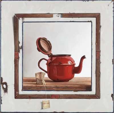 Repos Rouge (in emaillen lijst, ingelegd met oud hout), Rob Møhlmann, 2002, olieverf op paneel, 40 x 40cm