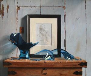 Rob Møhlmann, Gebroken Blauw, 2012, olieverf op paneel, 50x60cm