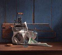 Rob Møhlmann, Kunst krijgt de p., 2000, olieverf op paneel, 80 x 90 cm