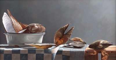 Rob Møhlmann, Zoetwatermosselen, olieverf op paneel, 2001, 24 x 46 cm